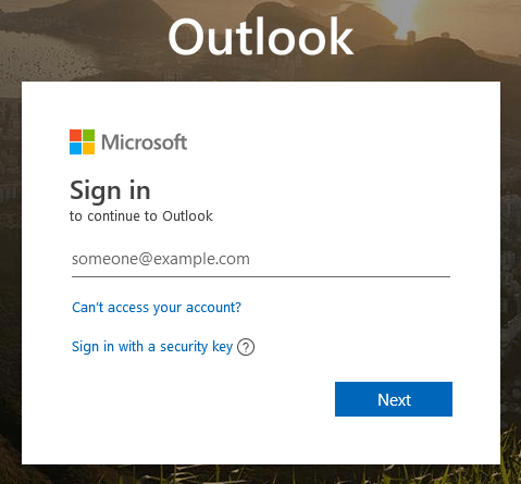 Outlook Web Sign in Page