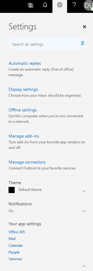 Outlook Web Access Settings Panel