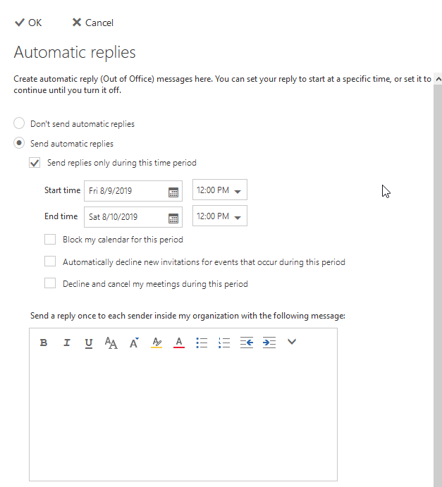 Outlook Web Access Automatic replies